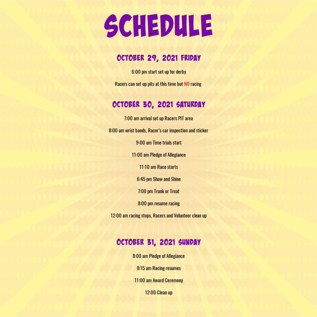 Schedule for DT Derby
